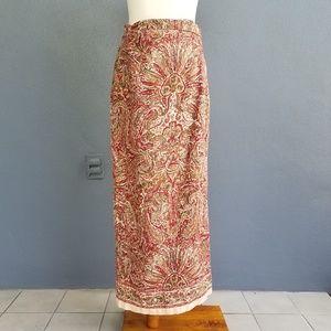 Jones New York Skirt Size 8 Dark Red Green Paisley
